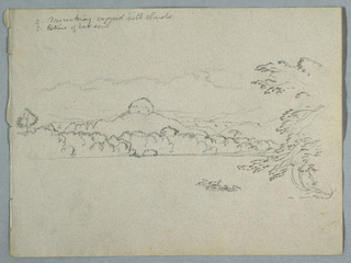 Horizontal cloud-capped mountain landscape, with outcropping of a large rock at center, beside the bank of a bay containing a tree in the right lateral foreground.
