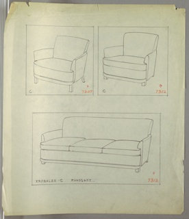 Drawing, Armchair, Two Versions, 1930–1935