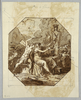 Drawing, Zephyr and Flora Sacrifice to Ceres