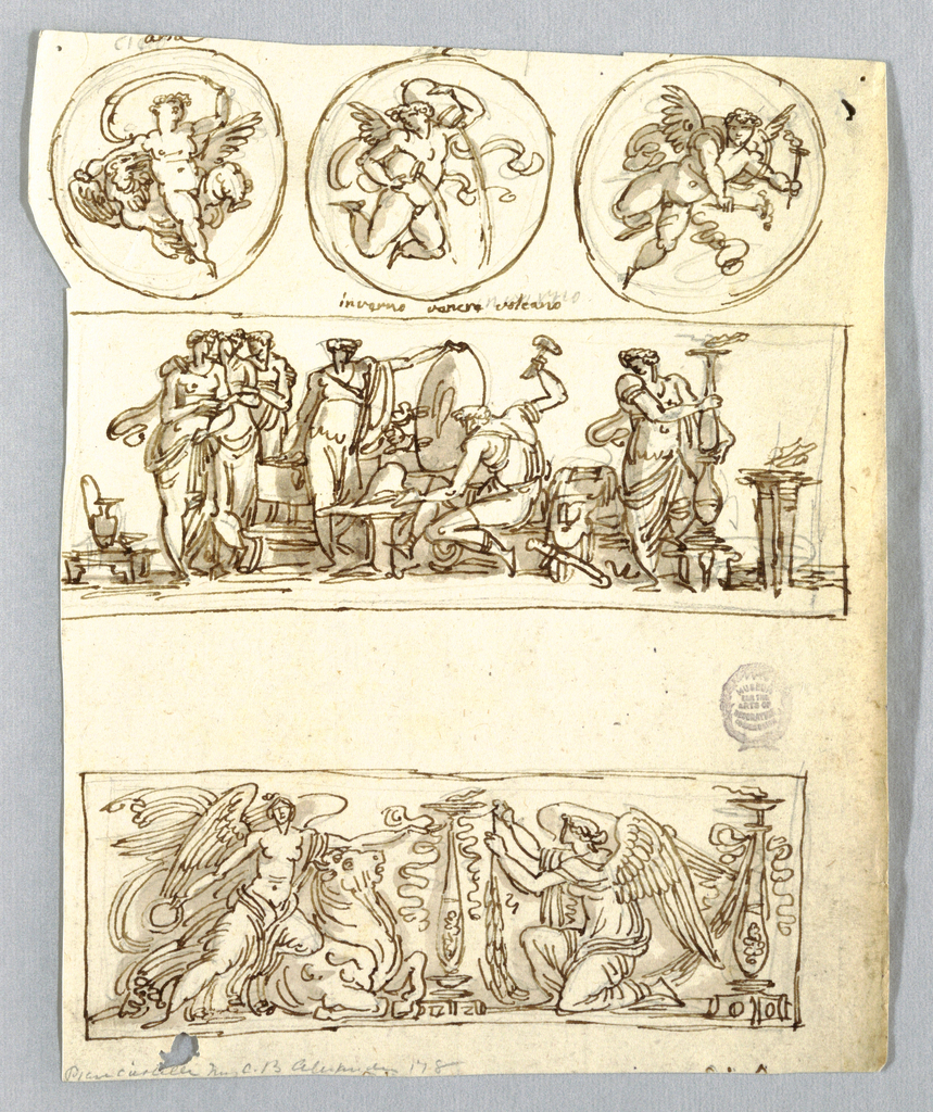Three roundels, each containing putto and with respectively eagle, Ganymede, pitcher pouring water, lit torches. On second row, at left, Venus accompanied by three companions, looks at Hephaestus forging helmet. She supports shield while other weapons beside Hephaestus. At right, young man beside lighted candelabrum. Other implements of forge illustrated. At left, victory kneeling upon bull while extending her left arm towards candelabrum.