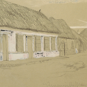 An oblique view into the street, lined with thatch roofed buildings, with two children and a woman barely visible in the middle ground. Clouds are suggested by the brush strokes above.