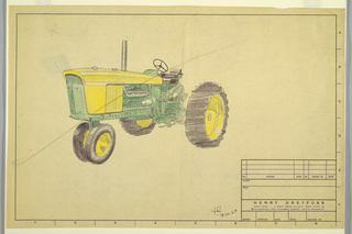 Design for a John Deere tractor, a vehicle intended for agricultural, farming, or construction purposes. The design is green and yellow and facing right to highlight the front and side screens. Features yellow and black tires and a black seat. The design is completed on Henry Dreyfuss Associates office paper, with a small table printed in black in the lower right corner, intended for details about the work and client.