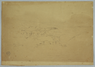 Horizontal view of a valley, with a deeply cut stream bed stretching toward a mountainous background, containing a house in the left middleground and a village or town in the right rear middleground.