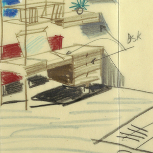 Detailed sketch of a room interior with colored examples of furniture. Upper left, sketch of man seated at desk.