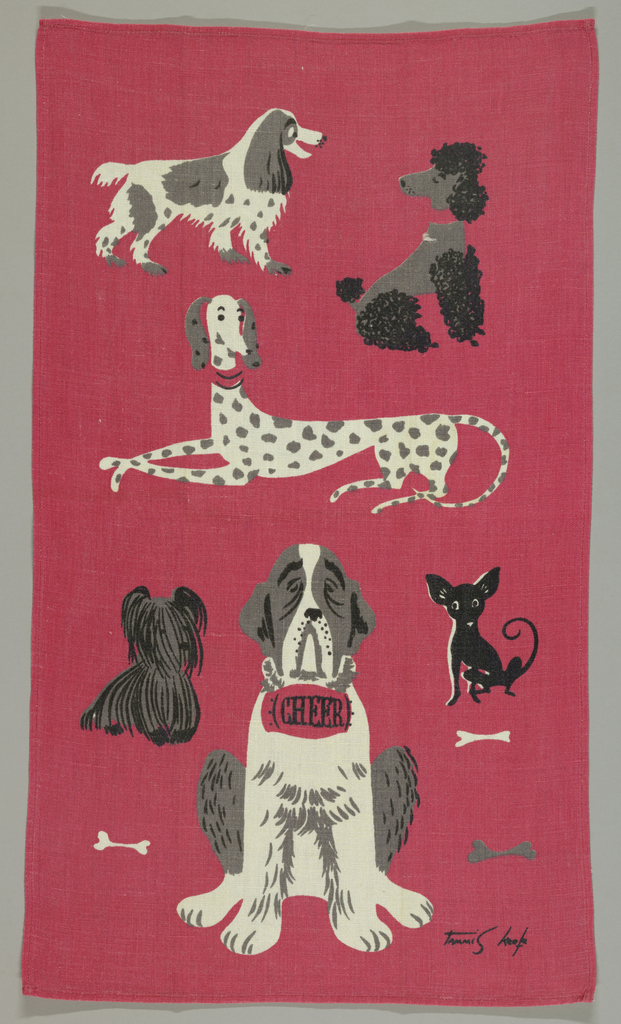 """Various kinds of dogs, one with a barrel reading """"Cheer"""". In red, black and gray."""