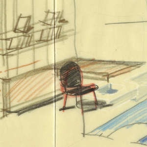 Detailed drawing of interior of room with small detail of plan.