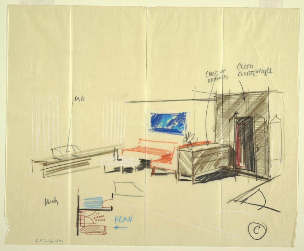 Sketch for the interior of a room with furniture and tiny detail of plan.