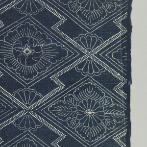 Length of stencil resist (katazome) with ivory pattern on blue ground. Zigzag lattice enclosing floral forms.