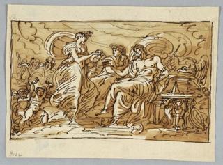 Juno shown between Jupiter and Hebe, gods at left. Eagle beside Jupiter. Two putti in lower left hand corner.