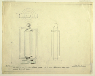 Design for table lamp in graphite and green color pencil. At left, elevation shows frosted glass tube with brushed aluminum arms and glass and brushed aluminum base. Circular base on top of which bracket-like arms are stacked; each has a curved and an angled corner and are positioned alternatingly. These wrap the glass tube and are capped by spherical finial. Above, object shown in plan; at right, in side elevation.