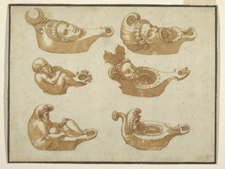 Six oil lamps each with a small head with an open mouth as the spout, all spouts are turned to the right.