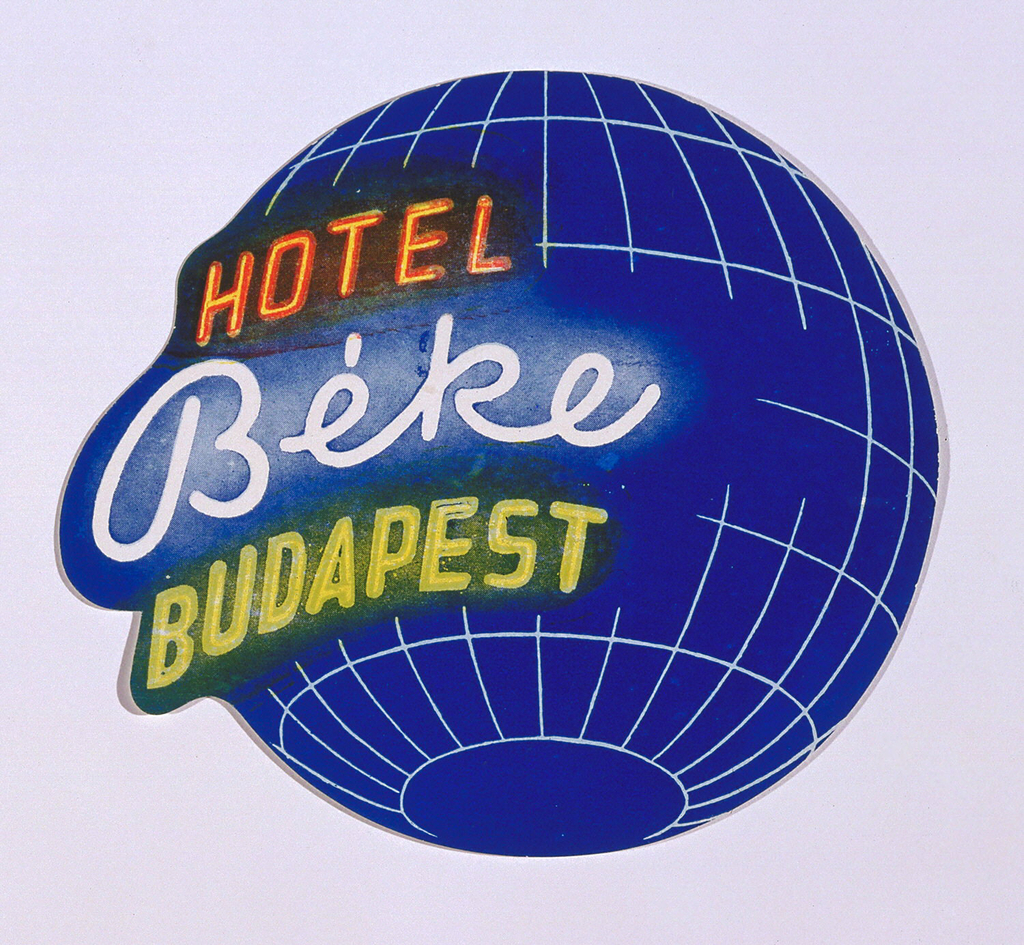"""Hotel Beke Budapest"" in neon style script on blue globe. Latitude and longitude lines delineated in white."