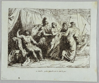 Achilles shown sitting before his tent, filled with anger. Patroclus delivers maiden to two messengers of Agamemnon. Part of sailing ship shown in right middle plane.