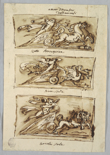 Three Rectangles with: Cupid in Chariot Drawn by Horses; Cupid in Chariot Drawn by Swans; Cupid in Chariot drawn by Lions