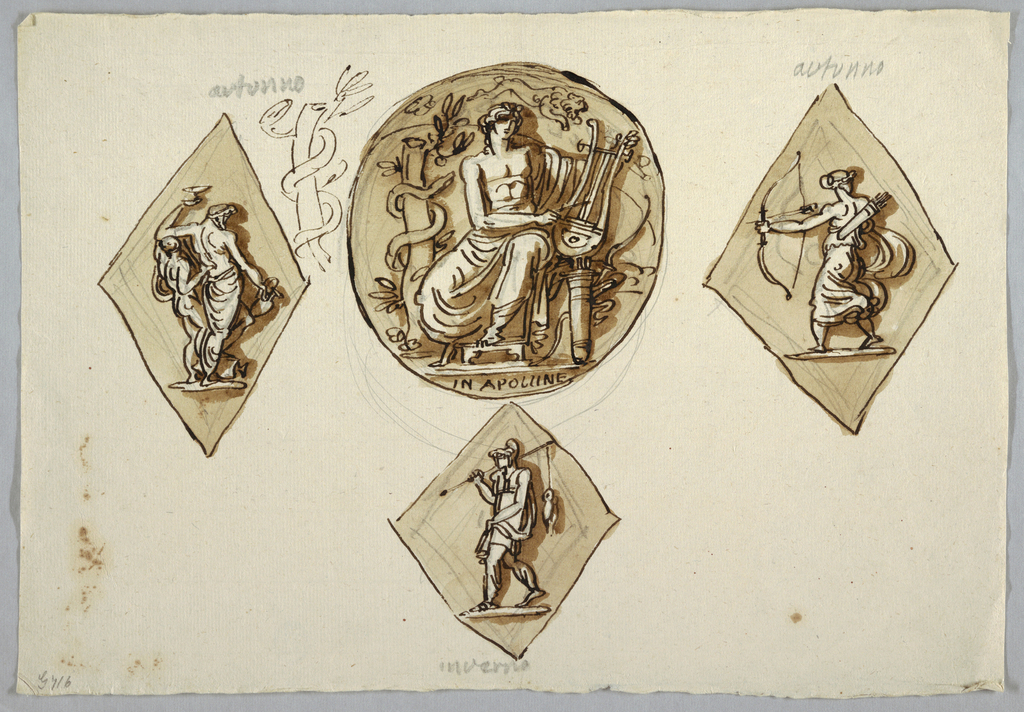 Circular medallion representing Apollo playing lyre, flanked by two lozenges; at left, elderly drinker, Silenus, supported by young Diana with bow and quiver.  Figures shown obliquely from back. At left, beside medallion, pen sketch for tree stump surrounded by snake.