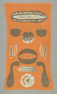 Various types of squash and peas, printed in brown, gray and orange.