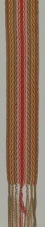 Sash of interlaced wool in pattern suggesting arrowhead. Known as 'ceinture flêche'.