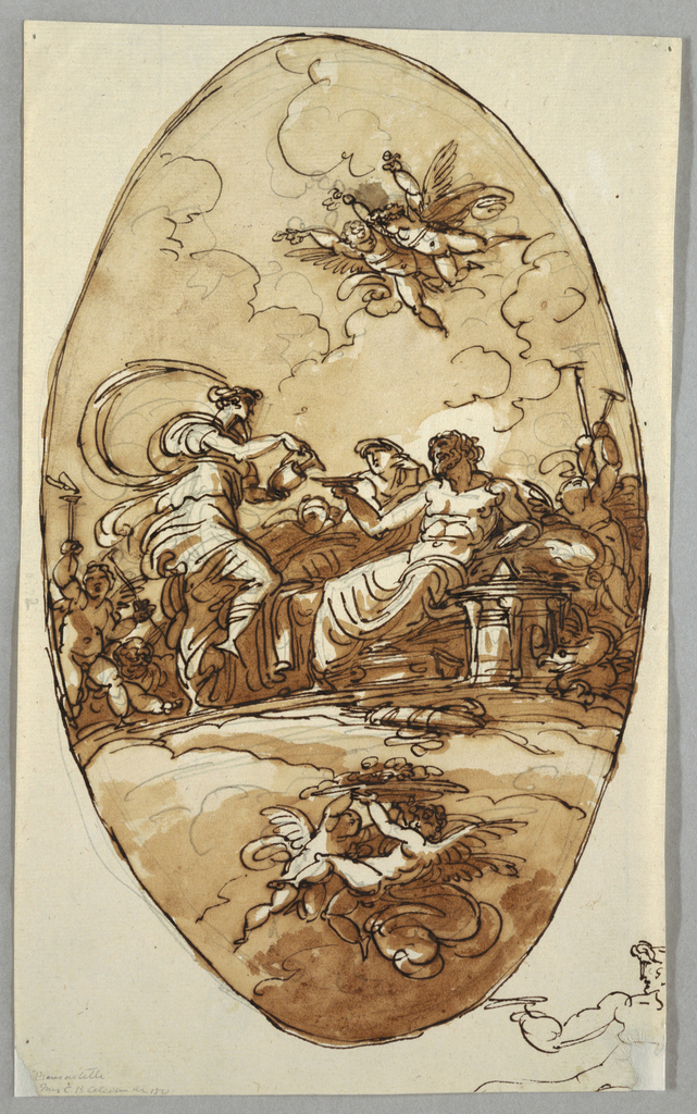 Sitting god extends his right hand with bowl towards Hebe, who stands pouring ambrosia with both hands from pitcher. Juno appears beside Zeus. Putti with trumpets standing around. Above are flying putti with flowers, below two putti support dish with fruit. Below in right corner, sketch of part of young man extending his right arm.