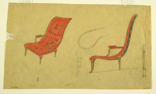 Design includes a three-quarter view of a curved red chair with arms on the left and a side view of the chair on the right. Sketches in graphite of two details–the tip of the base of the chair and one of the chair legs–appear in the center of the composition. Another sketch, perhaps of a back chair leg, appears on the far right.