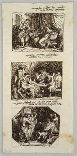 Drawing, Cornelia, Mother of Gracchi; Socrates, Alcibiades and Aspasia; Zeus and the Maidens of Crotone