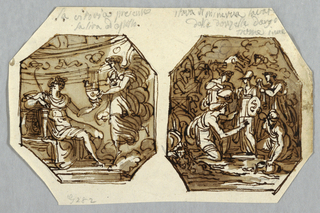 Drawing, Winged Victory Gives Apollo Lyre; Statue of Minerva