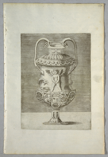 Vertical rectangle. An urn with two handles. On the body is seen a winged putto urinating into a bowl near which is a serpent. Below, a mascaron.