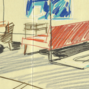 Interior of living room with couch, chairs; scale drawing of two figures below.