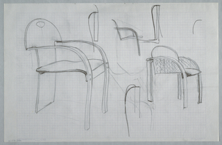 Drawing, Multiple chair sketches;, ca. 1982