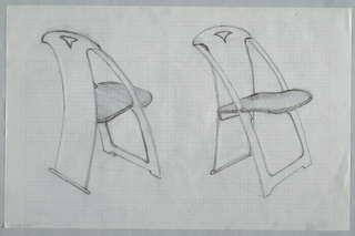 Drawing, Two large chair sketches, ca. 1982