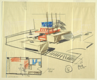 Drawing, Rough sketch, room 6, for Uris Hotels, August 3, 1955
