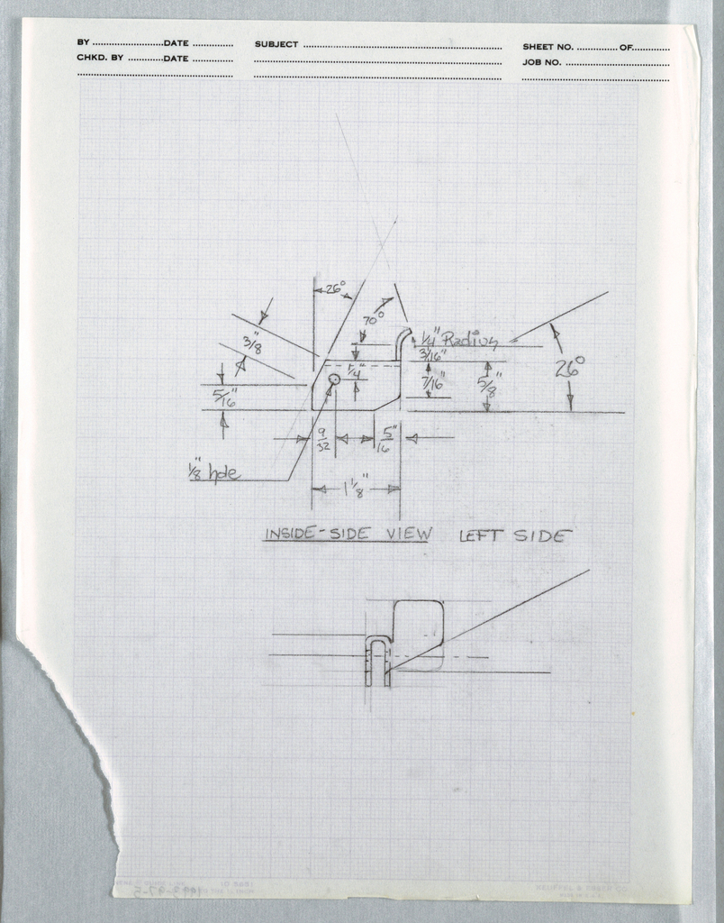 Drawing, One view of Bracket for f