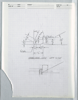 Drawing, One view of Bracket for f, ca. 1982