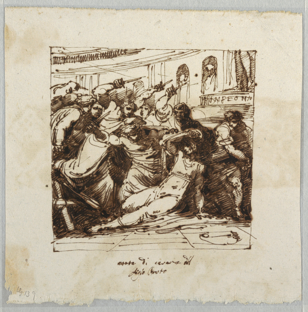 Drawing, The Killing of Cesare, ca. 1790