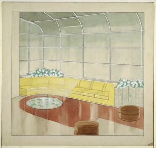 Drawing, Leigh B. Block Apartment: Sunroom