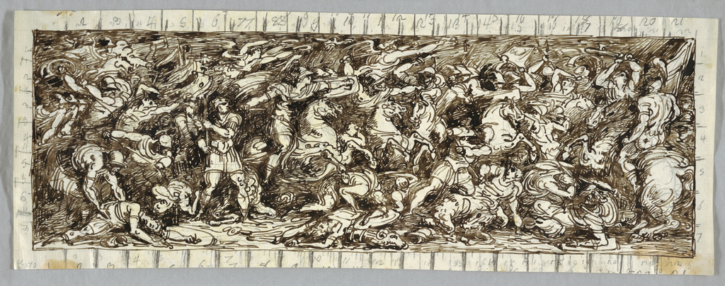 Measured design for a frieze showing a battle scene with figures in the antique style.