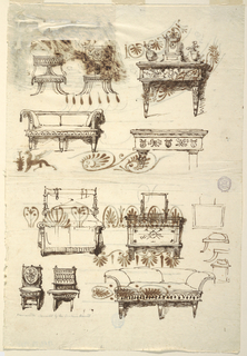 Page with furniture designs. At bottom, two chairs and a couch. Above, a bed and dresser. At top, two chairs, two tables and a couch.