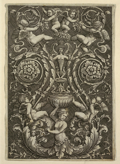 Print, Grotesque with Putti and Grape Vines