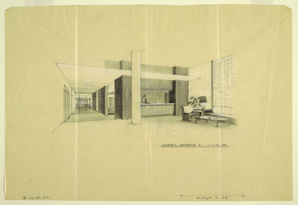 Sketch for lobby of Uris Hotel.