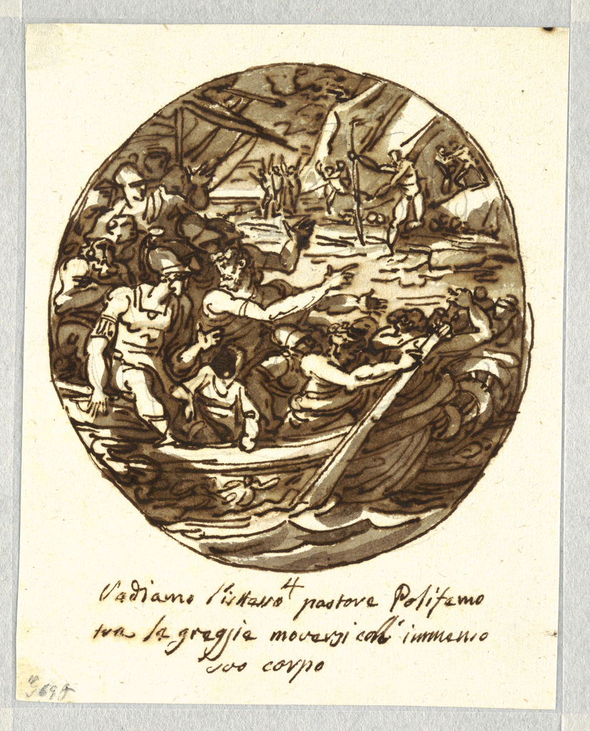Drawing, Ulysses Escapes the Cyclops's Cave and Embarks with a Companion