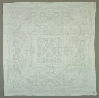 Napkin with design of swans, birds, apple trees and peacocks.