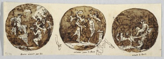 Bacchus shown enthroned in circular vaulted temple. Priest stands behind altar in background, while offerings brought to Bacchus. At center, Bacchus and Ariadne hold each other's hands. Woman behind them raises wreath. Two putti fly. Bacchus rides in chariot drawn by panthers toward left.  At left interval, pen sketch of arm holding pitcher; in right one, pen sketch of man sacrificing wine. Part of framing in center lower edge.