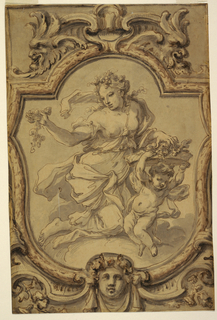 Vertical format design for a painted ceiling. Within a cartouche topped by masks, a figure of a woman in drapery holding fruit or fluids; a putto supports a tray filled with flowers at right.
