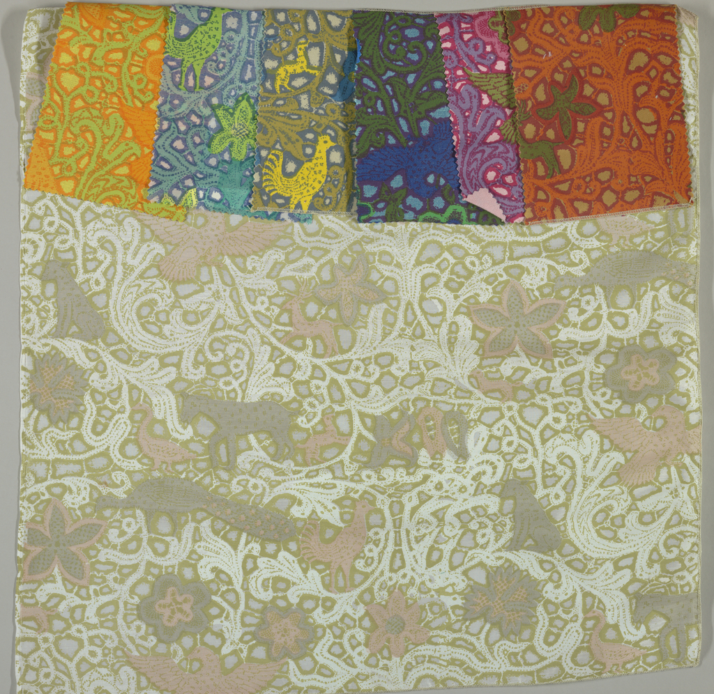 Seven samples of a pattern adapted from a piece of lace in the Cooper Hewitt collection, 1954-99-1. Design shows animals within scrolling lace-like vines.