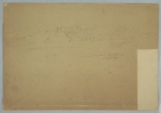Horizontal view of mountain ranges and rugged peaks across upper portion of sheet.