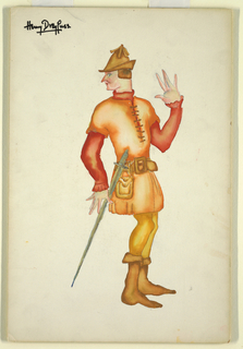 Drawing, Costume Design: Man with Sword, for The Merry Wives of Windsor