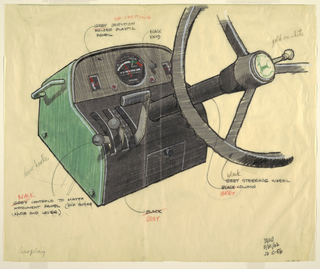 Design in black, grey, and green for a tractor's instrument panel consisting of a steering wheel, knob, what appears to be a speedometer, and other controls. The grey and black steering wheel features a green leaping deer, the John Deere logo, in the center. Numerous inscriptions provide details relating to the color and design of the panel.