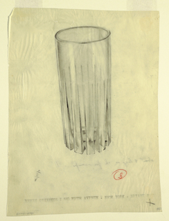 A glass with protruding fins.
