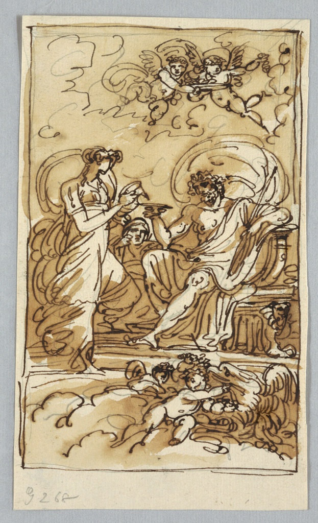 Jupiter shown sitting on throne. He raises bowl into which Hebe pours wine. Mercury looks on. Below are two putti and an eagle, while above two putti fly with bowl of fruits.  Rays of unusual graphite marks are above at right.