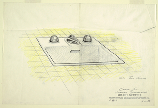 At center, design for sink surrounded by yellow tile.