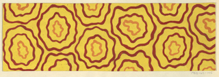 Yellow ground with pattern of wavy concentric circles in dark red and orange